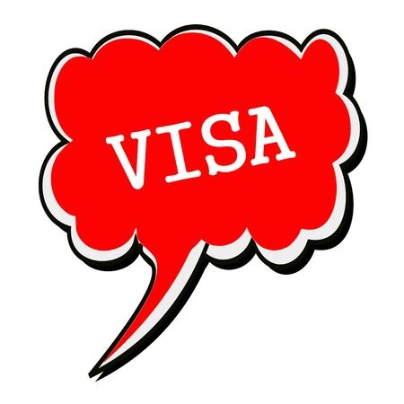 confirmed verification: VISA white stamp text on red Speech Bubble