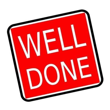 finished good: Well done white stamp text on red background