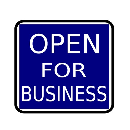 open business: OPEN FOR BUSINESS white stamp text on buleblack background