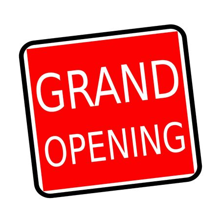 usual: Grand opening white stamp text on red background Stock Photo