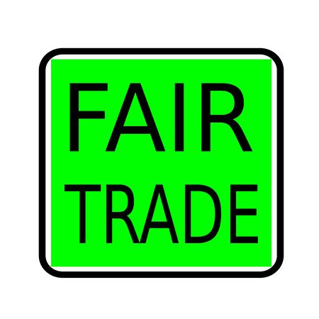 fairtrade: Fair Trade black stamp text on green background