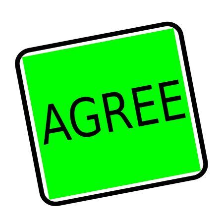 agree: Acordar sello texto negro sobre fondo verde Foto de archivo
