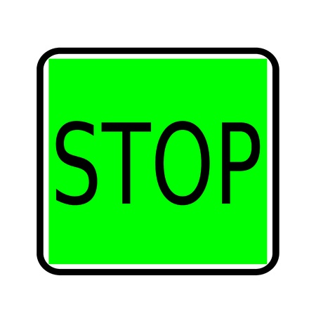stoppage: STOP black stamp text on green background