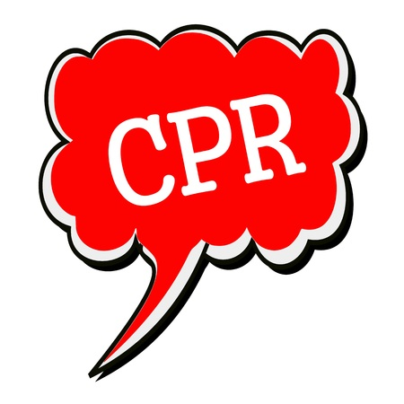 cpr: CPR white stamp text on red Speech Bubble Stock Photo