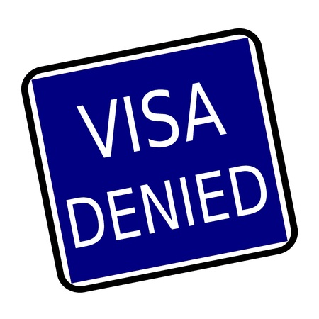 confirmed verification: VISA DENIED white stamp text on buleblack background