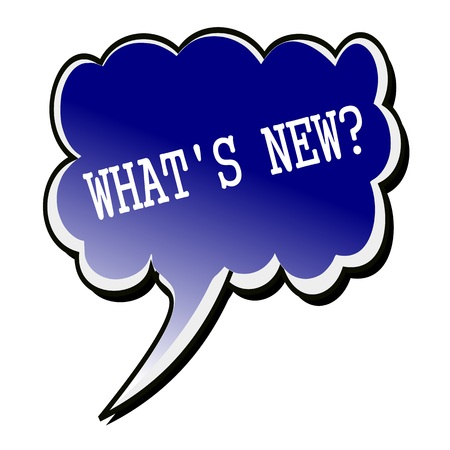 Whats New white stamp text on blueblack Speech Bubble Reklamní fotografie