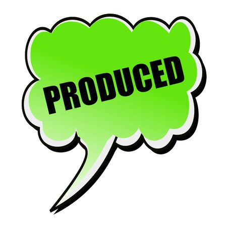 produced: Produced black stamp text on green Speech Bubble Stock Photo