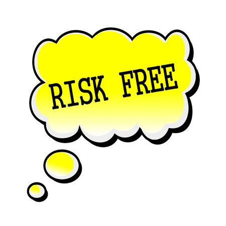 office product: Risk Free black stamp text on yellow Speech Bubble
