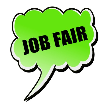 job icon: Job Fair black stamp text on green Speech Bubble