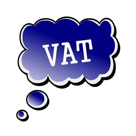 vat: Vat white stamp text on blueblack Speech Bubble