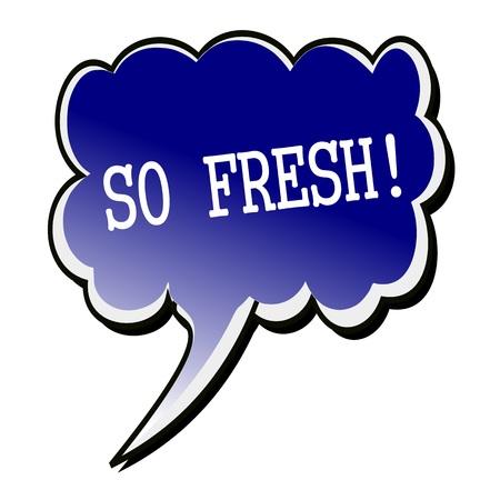 so: So Fresh white stamp text on blueblack Speech Bubble Stock Photo