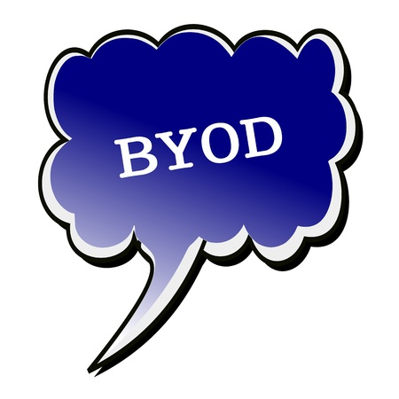 owning: BYOD white stamp text on blueblack Speech Bubble Stock Photo