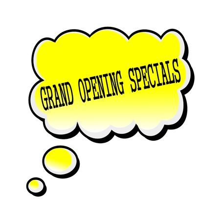 specials: Grand Opening Specials black stamp text on yellow Speech Bubble Stock Photo