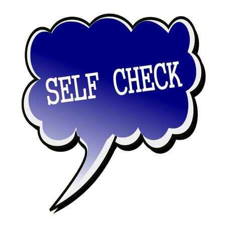 Self Check white stamp text on blueblack Speech Bubble Reklamní fotografie