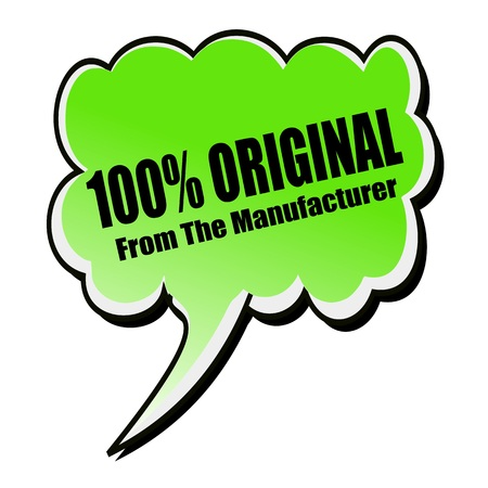 manufacturer: 100% Original From The Manufacturer black stamp text on green Speech Bubble Stock Photo