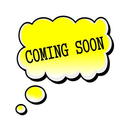 office products: coming soon black stamp text on yellow Speech Bubble