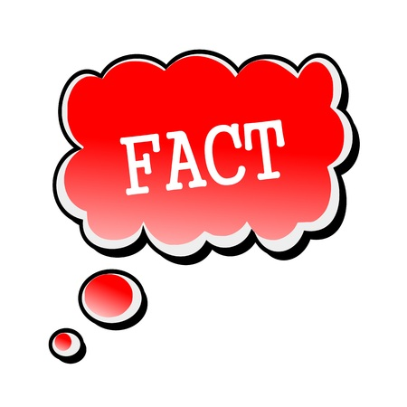 fact: Fact white stamp text on red Speech Bubble Stock Photo