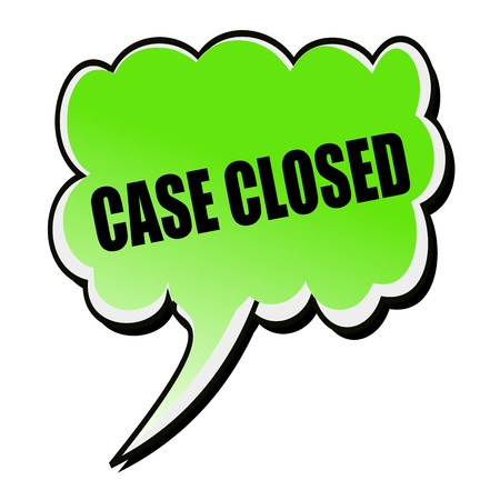 proceedings: Case Closed black stamp text on green Speech Bubble Stock Photo