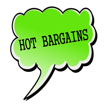 bargains: Hot Bargains black stamp text on green Speech Bubble