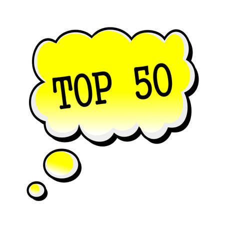 top 50 icon: Top 50 black stamp text on yellow Speech Bubble