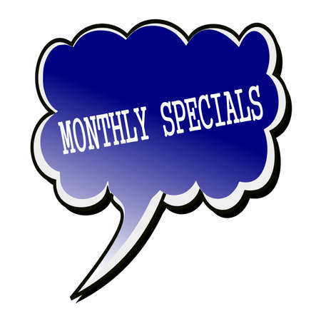 specials: Monthly Specials white stamp text on blueblack Speech Bubble Stock Photo