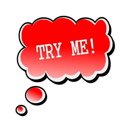 try: Try Me white stamp text on red Speech Bubble Stock Photo