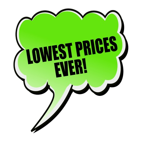 lowest: Lowest Prices Ever black stamp text on green Speech Bubble Stock Photo