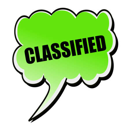 classified: Classified black stamp text on green Speech Bubble Stock Photo