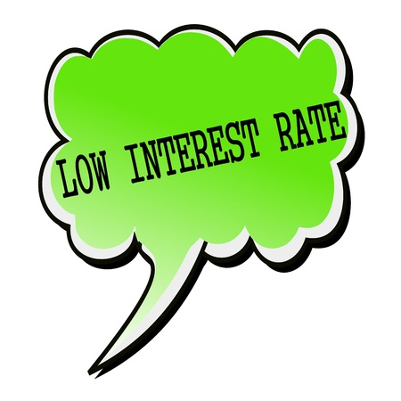 interests: Low Interest Rate black stamp text on green Speech Bubble Stock Photo
