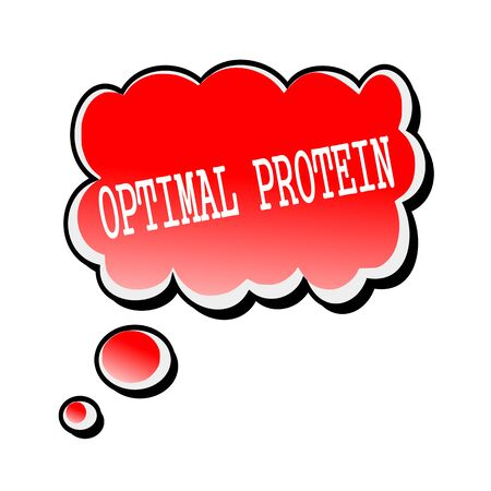 Optimal Protein white stamp text on red Speech Bubble