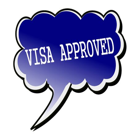 Visa white stamp text on blueblack Speech Bubble