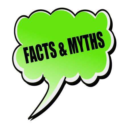 myths: Facts & Myths black stamp text on green Speech Bubble Stock Photo