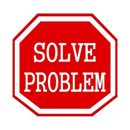 octagon: Solve problem white stamp text on red octagon Stock Photo
