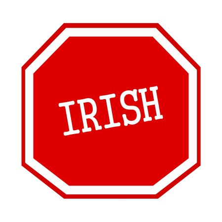 irish cities: Irish white stamp text on red octagon Stock Photo