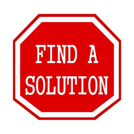 find a solution: Find a solution white stamp text on red octagon Stock Photo