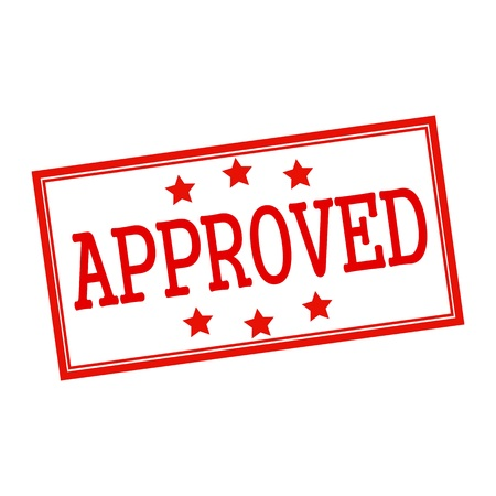 red stamp: approved red stamp text on white Stock Photo
