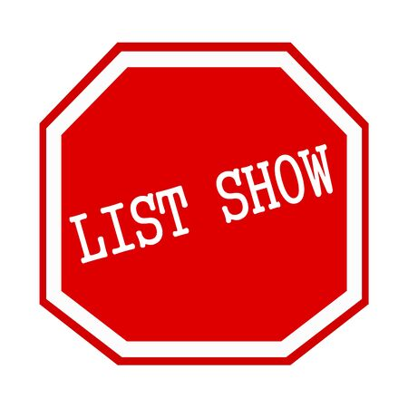 octagon: List show white stamp text on red octagon Stock Photo
