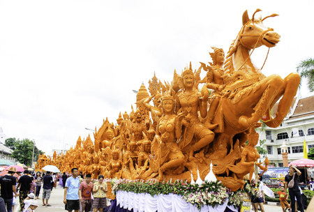 Candle Festival UBON RATCHATHANI, THAILAND - August 2: The Candles are carved out of wax, Thai art form of wax(Ubon Candle Festival 2015) on August 2, 2015, UbonRatchathani, Thailand