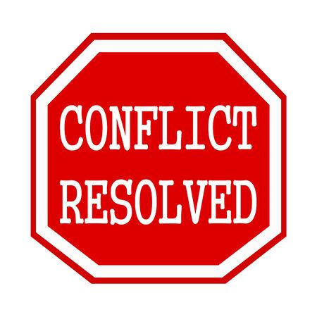 octagon: Conflict Resolved white stamp text on red octagon Stock Photo