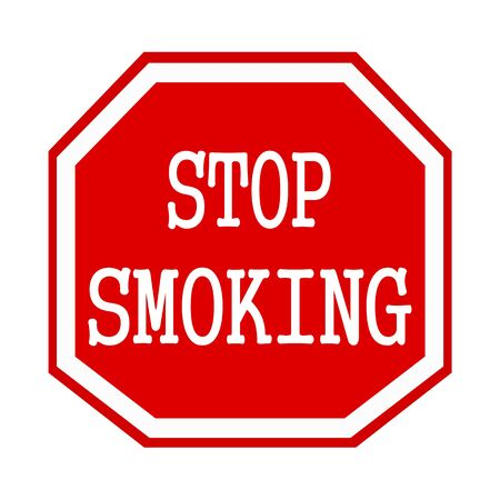 octagon: Stop smoking white stamp text on red octagon Stock Photo