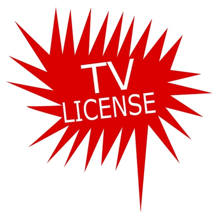 authorisation: Tv license white stamp text on red Speech Bubble