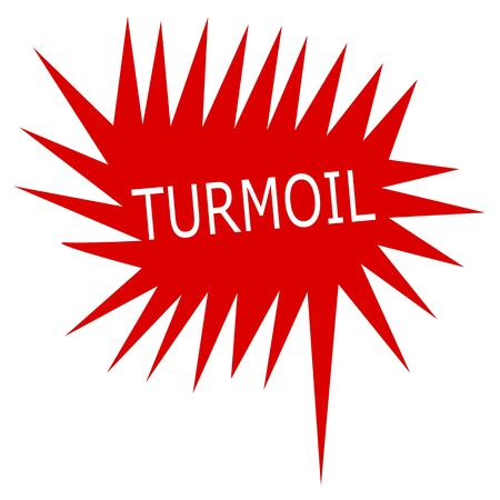 turmoil: Turmoil white stamp text on red Speech Bubble