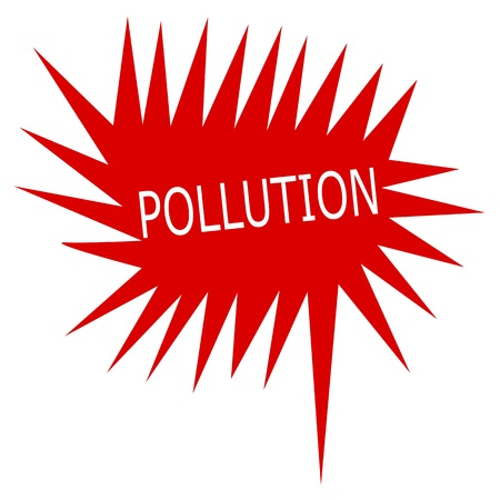 air awareness: Pollution white stamp text on red Speech Bubble Stock Photo