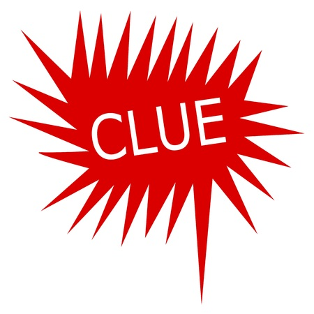 clue: Clue white stamp text on red Speech Bubble Stock Photo