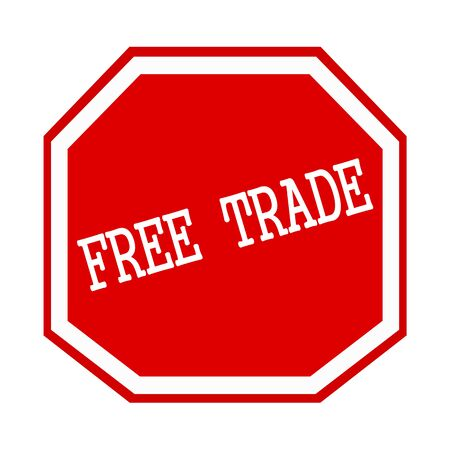 import trade: Free trade white stamp text on red octagon
