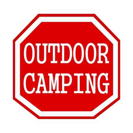 octagon: Outdoor camping white stamp text on red octagon Stock Photo