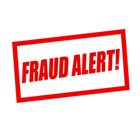 alert: fraud alert red stamp text on white Stock Photo