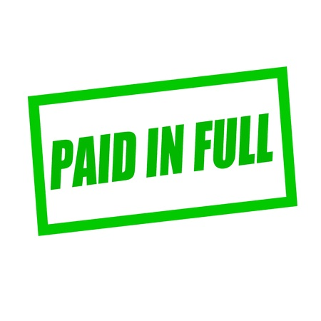 paid stamp: paid in full green stamp text on white