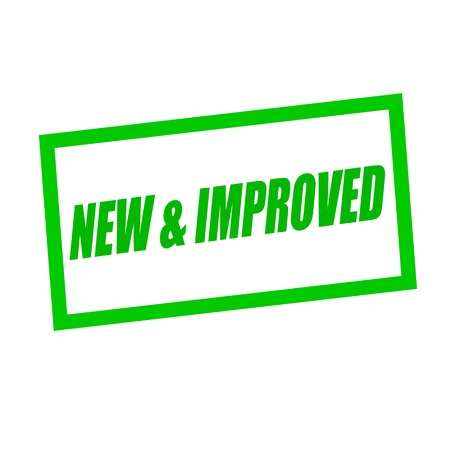 new and improved: new and improved green stamp text on white