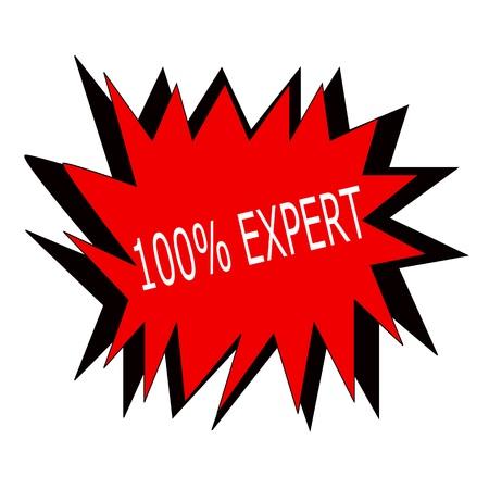 hundred: one hundred percent expert white stamp text on red blast Stock Photo